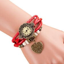 Quartz Weave Around Leather Band Bracelet Lady Woman Wrist Watch Fashion Watches
