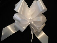 WHITE PULL BOWS WITH OR WITHOUT RIBBON WEDDING CAR DECORATIONS