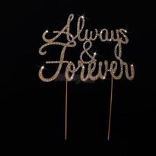 Wedding Anniversary Always and Forever Glitter Crystal Cake Toppers Cake Decor