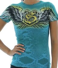 Sinful by Affliction Juniors Neon Rhinestones Baby Tee shirt top Teal stones
