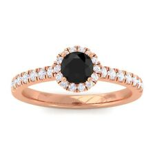 Black Onyx IJ SI Diamond Gemstone Enagagement Ring Women 14K Rose Gold