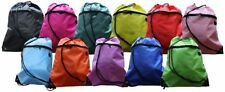Drawstring Gym Swim PE Bag Backpack with Zip Pocket Inner Pocket Earphone Holder