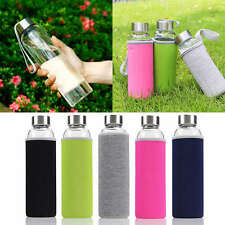Sport Portable Glass Water Juice Bottle Drinking Lid Cup Mug Colors 600ml New