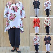 ITALIAN LINEN WOMENS LAGENLOOK FLORAL TUNIC TOP PLUS SIZE 16,18,20,22,24,26 3118
