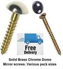 "Mirror Screws Solid Brass Chrome Dome screw top No8 x 1"" (4x25mm) 4 pack sizes"
