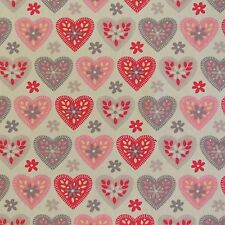 Pink & Grey Hearts Cotton: Children's Pink White Lilac Girls Fabric Material