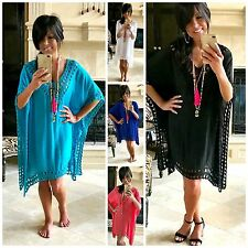 LA PLAYA Boho FLOWY Crochet Kaftan Tunic Dress Black White Coral Turquoise S-XXL
