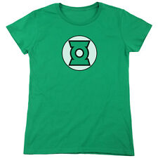 Justice League Green Lantern Logo Womens Short Sleeve Shirt Kelly Green