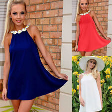 Fashion Women Halter Backless Sleeveless Lace Flower Strap Collar Dress Vestido