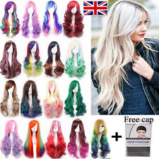 Fashion Women Long Anime Full Hair Wigs Rainbow Curly Wavy Straight Cosplay Wigs