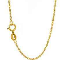 """10k Solid Yellow Or White Gold 1 mm Singapore Chain Necklace 16"""" 18"""" 20"""""""