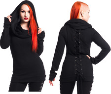 VIXXSIN REST TOP BLACK HOODED POIZEN INDUSTRIES GOTHIC CORSET LACE