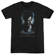 Batman Arkham Origins Joker Mens Adult Heather Ringer Shirt Black