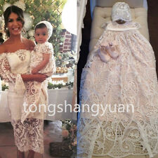 2017 Short Sleeve Baby Robe Baptism Dresses Lace Infant Christening Gown Custom