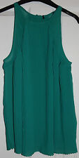 JANE NORMAN GREEN PLEATED BLOUSE TOP 8 BNWOT