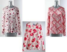 NEW Vera Wang Womens Breast Cancer Awareness Long Sleeve TEE Plaid Floral S M