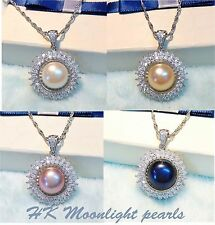 Genuine Cultured Pearl(11-12mm) Double Zircon layer round pendant+ S925 Necklace