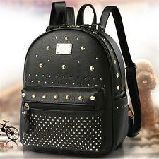 Black Vintage PU Leather Backpack Rucksack Travel Outdoor SchoolBag Shoulder Bag