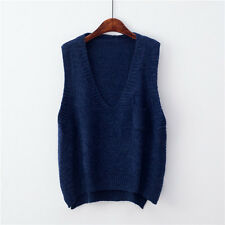 Lady Knit Vest V Neck Sleeveless Loose Sweater Pockets Jumper Pullover Top Solid