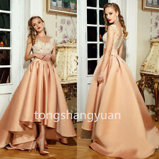 New Lace Applique Evening Dresses Hi-Low Formal Prom Gowns Custom Party Cocktail