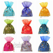 Wholesale Embroidery multicolor Wedding Silk Jewelry Pouch Gift VOILE Bags G1