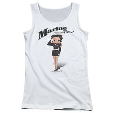 Betty Boop Marine Betty Boop Juniors Tank Top Shirt WHITE