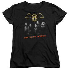 Aerosmith Get Your Wings Womens Short Sleeve Shirt Black