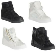 NEW WOMENS LADIES DIAMANTE WEDGE HEEL LACE UP ZIP STRAP ANKLE BOOTS TRAINERS
