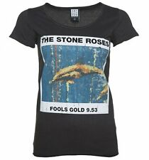 Official Women's Charcoal The Stone Roses Fools Gold T-Shirt from Amplified