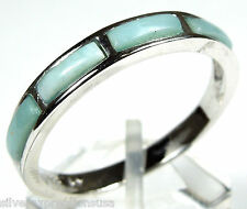 Rare AA/AAA Genuine Larimar Inlay 925 Sterling Silver Band Ring size 5 6 7 8 9