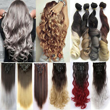 Natural Full Head THICK DELUXE Clip In Hair Extensions Brown Gray Fake Hair Fsh