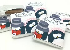 50 Personalised Chocolate Wedding Favours, Cute Penguin Couple Chocolate favours