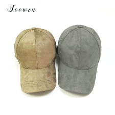Unisex Faux Leather Suede Baseball Hat Adjustable Trucker Fitted Sport Cap Visor