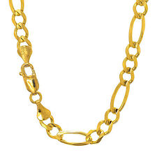 14k Solid Yellow Gold 7mm Figaro Chain Bracelet Necklace