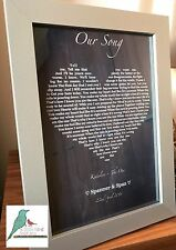 Chalkboard effect song lyrics personalised print fully personalised - any song!