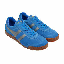Gola Harrier Suede Mens Blue Suede Lace Up Trainers Shoes