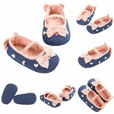 Princess Baby Girl Leopard Print Toddler Bowknot Crib Shoes Slip-On 0-18 Months