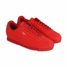 Puma Roma Mono Emboss Mens Red Nubuck Lace Up Sneakers Shoes