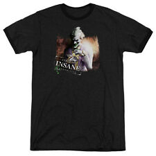 Arkham City Batman Certified Insane Mens Adult Heather Ringer Shirt Black