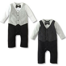 Baby Kid Boys Formal Bow Tie Wedding Tuxedo Suits Outfits Infant Romper Jumpsuit