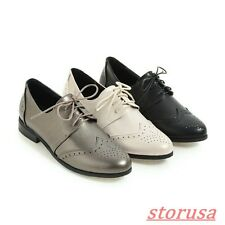 Ladies Synthetic Carved Lace Up Flats Loafers Casual Shoes British Brogue Shoes