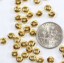 Nugget Beads, TierraCast, 5mm Gold Plate, Coin Spacer Beads 20 /100 Pieces, 3525