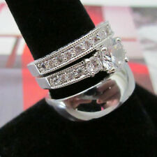Three Ring Wedding Ring Set - His Silver Dome & Her Classic Italian 2 Ring Set