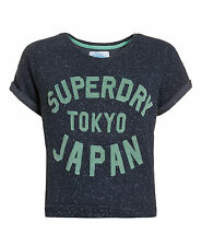 New Womens Superdry Factory Second Japan Crew Top Midnight Blue SW2