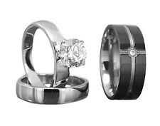 His and Hers Wedding Rings 3 pcs Engagement CZ Sterling Silver Titanium Set HC