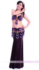 Belly Dancing Costume Outfit 3PCS Bra&Belt&Skirt 34B/C 36B/C 38B/C 11 Colors