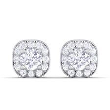 0.29ct FG SI Small Round Diamond Halo Stud Earrings Women 14K Solid Gold