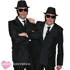 MENS 1980'S BLUES COSTUMES SUIT HAT GLASSES TIE SIDEBURNS COUPLES FANCY DRESS