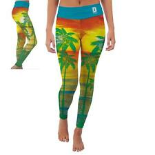 Dickinson State University Blue Hawks Womens Yoga Pants Tropical  Design