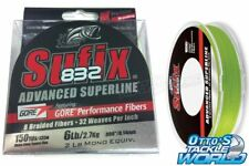 Sufix 832 Advanced Superline Braid Neon Lime 150 Yards BRAND NEW at Otto's